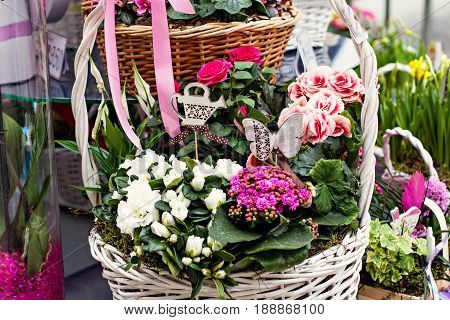 Hydrangea. Basket With Hydrangeas, Flower Arrangement In A Flower Shop.