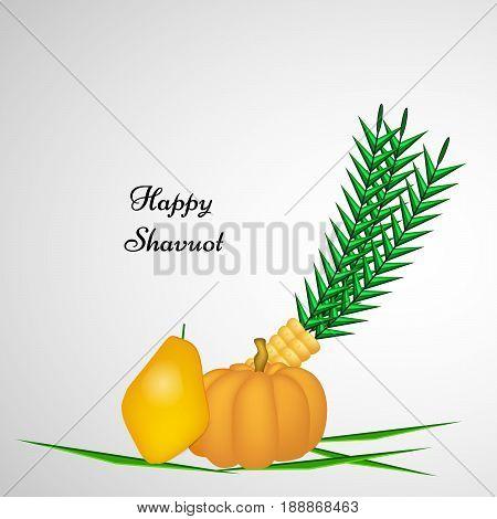illustration of Papaya, pumpkin and corn with happy Shavuot text