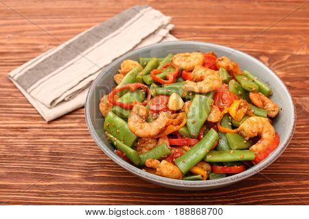 Snowpeas and shrimps salad. Low fat eating concept.