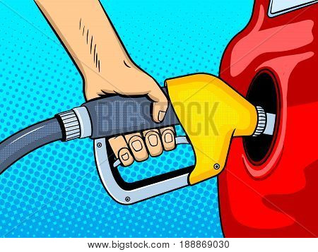 Gasoline filling comic book pop art retro style vector illustration