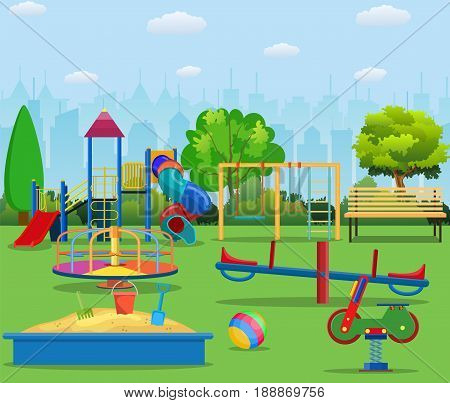 Kids playground cartoon concept background. childrens playground in a city park. Vector llustration in flat design