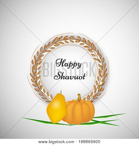 illustration of Papaya, pumpkin and wheat with happy Shavuot text
