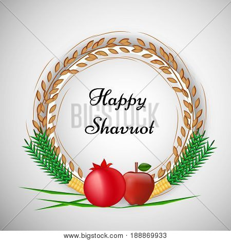 illustration of pomegranate, Apple, corn and wheat with happy Shavuot text
