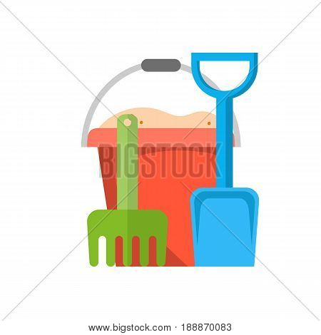 Bucket, rake and shovel with sand icon , kid toys tools symbol, vector illustration in flat design