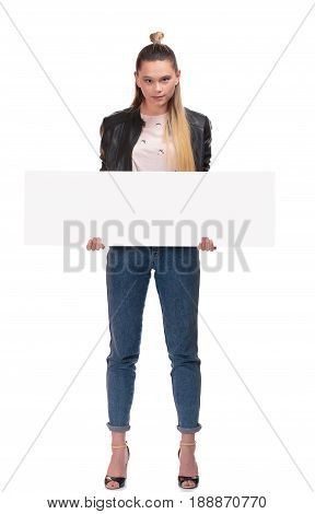 blond girl with big nameplate on white background