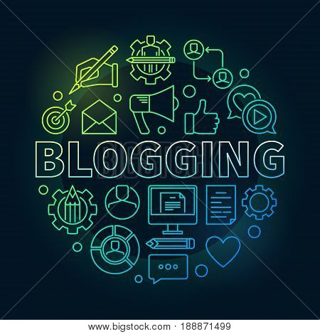 Blogging concept round illustration - vector modern symbol made with different blog icons and word BLOGGING in center on dark background