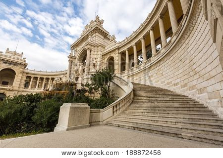 MARSEILLE, FRANCE - MAR 13 Exterior of The Palais Longchamp at Marseille on March 13, 2016, This was created to celebrate the construction of the Canal de Marseille.