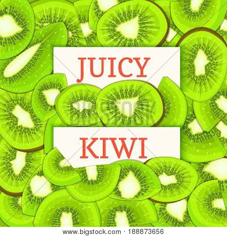 Two white rectangle label on kiwi fruit background. Vector card illustration. Tropical citrus and juicy green kiwifruits whole and slice for design of food packaging juice breakfast detox diet, jam