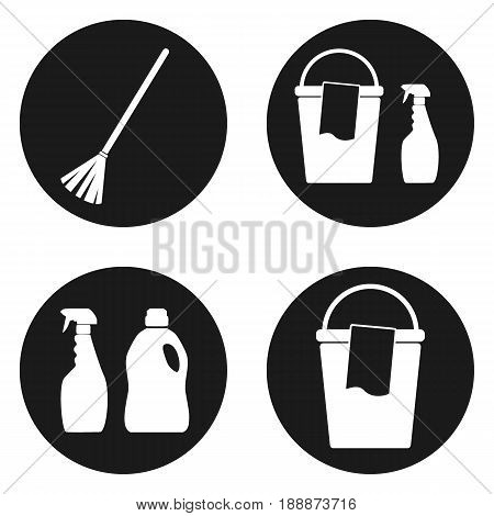 Sanitation or cleaning icons set in circle button.. Vector illustration