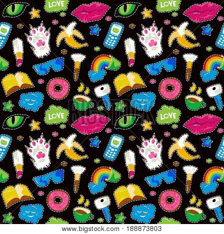 Seamless Pattern With Fashion Patch Badges