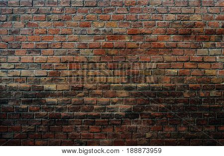 Texture of old dirty brown brick wall surface