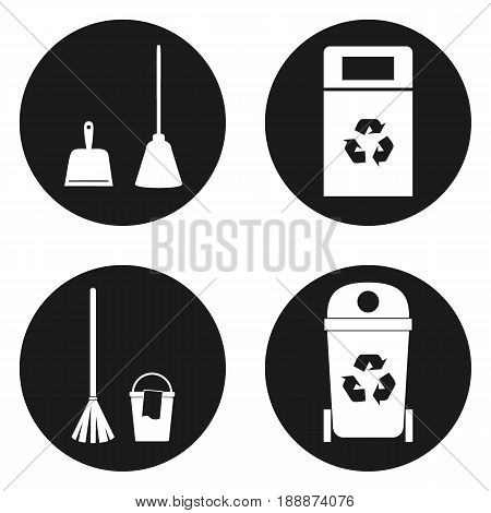 Sanitation or cleaning icons set in circle button. Vector illustration