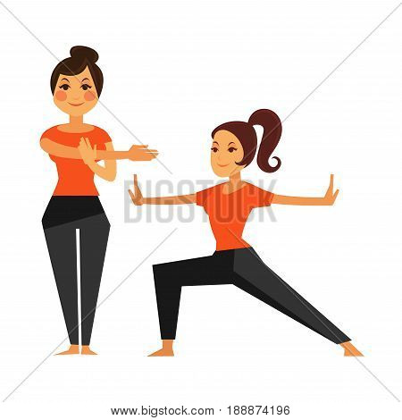 Two female people warming up before karate class. Vector colorful illustration in flat design of women doing sports, physical exercises and leading healthy lifestyle. Body building template.