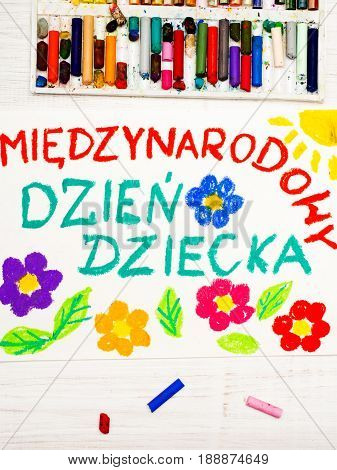 Colorful drawing:Children's day card with Polish words Children's day