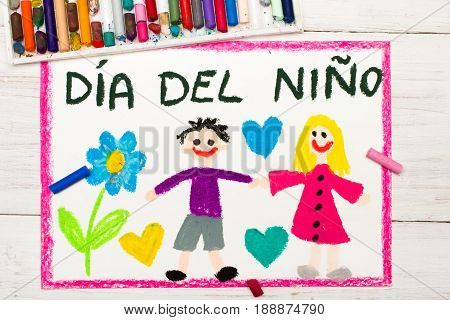 Colorful drawing: Children's day card with Spanish words Children's day