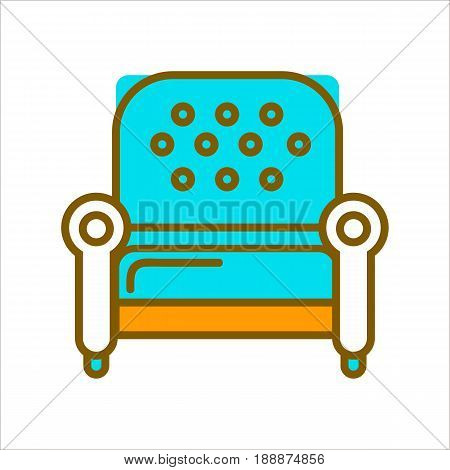 Comfortable, soft and stylish armchair with blue leather upholstery on wooden legs isolated vector illustration on white background. Living room piece furniture for comfort and decoration logo design