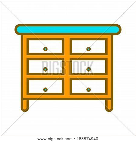 Cartoon bright orange commode with blue top, lot of whity spacious drawers and round handles on small legs isolated on white background. Bedroom convenient furniture flat vector illustration.