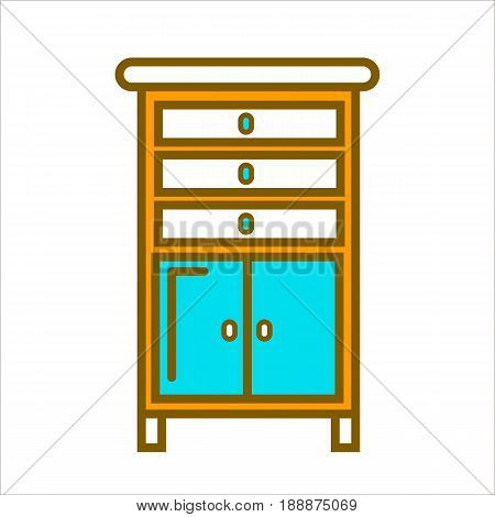 Tall cartoon orange commode with white top, spacious cabinets with round handles and chest of drawers on small legs isolated on white background. Bedroom convenient furniture flat vector illustration.