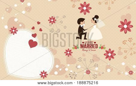 wedding invitation card template vector.Illustration of lovely sweet couple wedding.Cute wedding invitation card template vector.