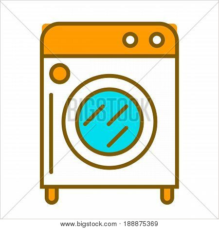 Cartoon white washing machine with orange top, round buttons and blue window on small legs isolated flat vector illustration on white background. Electric device for cleaning clothes and linen.