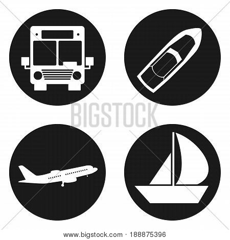 Traveling and transport icons set in circle button. Vector illustration