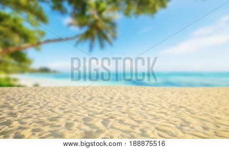 Tropical beach with sand, summer holiday background. Travel and beach vacation, free space for text or product placement.