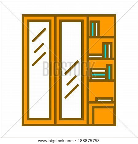 Wooden closet wardrobe with two glass vertical doors and shelves with books and other things. Vector colorful illustration in flat design of isolated piece of furniture for living room or bedroom