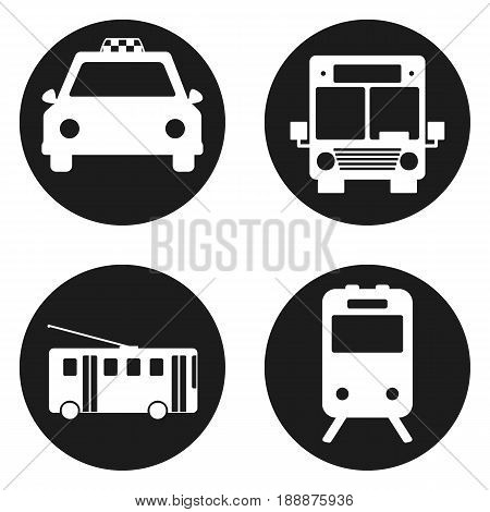 Bus, Trolleybus, subway, train, taxi - public transportation icon set in circle button. Vector illustration