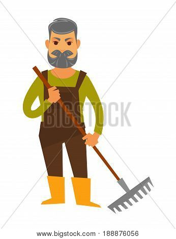 Senior man gardener isolated in brown overall, sweater and yellow boots holds rake equipment for working in garden. Vector colorful illustration of male person with grey hair and beard with raker