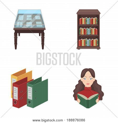 A table with old documents, bookshelves, folders, a visitor. A library and a bookstore set collection icons in cartoon style vector symbol stock illustration .