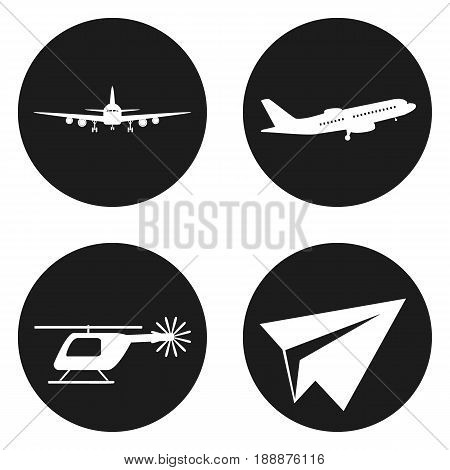 Transportation icons set. Helicopter, plane, paper plane in circle button. Vector illustration
