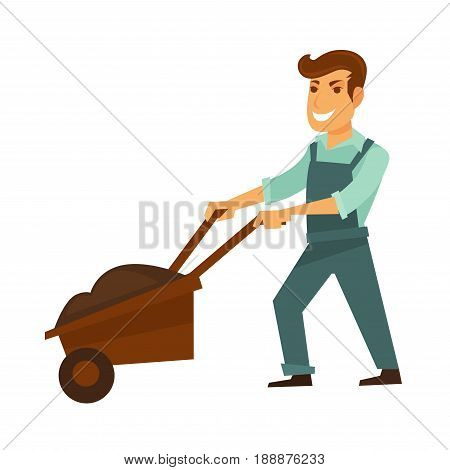 Cartoon male character in dark blue overalls and light green shirt smiles and pushes wooden garden wheelbarrow full of dark soil for planting isolated vector illustration on white background.