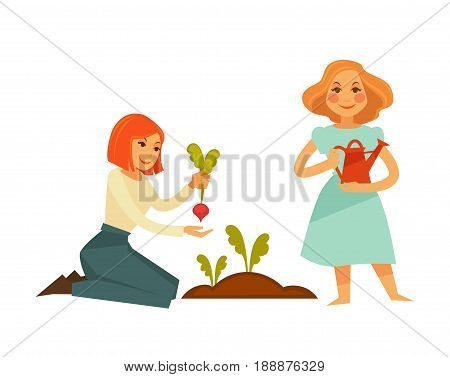 Redhead girl in blouse and trousers sits on her knees and plant beet in soil. Blonde girl in light blue dress stands and holds red watering can isolated vector illustration on white background.