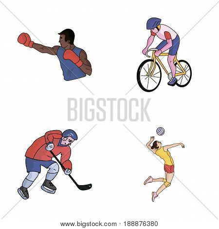 Cycling, boxing, ice hockey, volleyball.Olympic sport set collection icons in cartoon style vector symbol stock illustration .