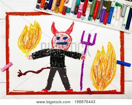 Colorful drawing : scary devil with pitchfork