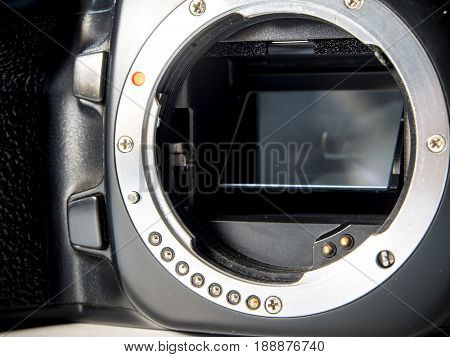 Front view of SLR camera body metal bayonet lens mount PK without lens