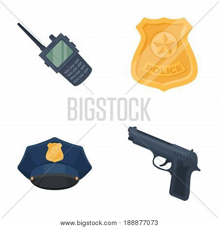 Radio, police officer's badge, uniform cap, pistol.Police set collection icons in cartoon style vector symbol stock illustration .