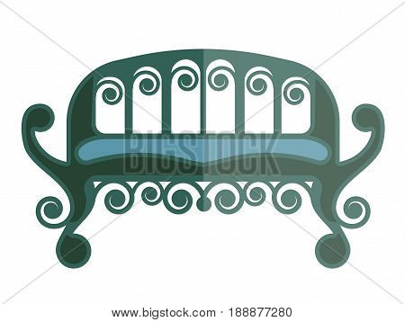 Ancient green sofa isolated on white vector illustration in flat design. Vintage piece of furniture for sitting with one bright half and other dim. Antique and comfortable place for resting in home