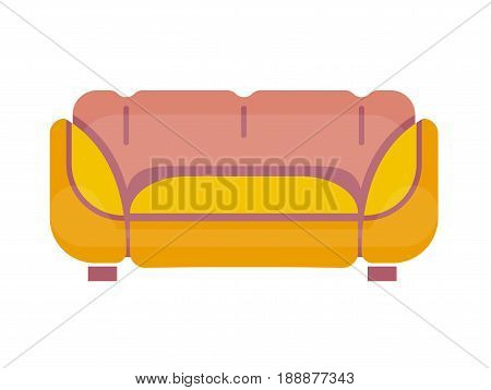 Sofa in yellow and pink colors stands on small legs isolated on white. Comfortable and soft place for sitting in living room or bedroom with convenient back and armrests close up vector illustration