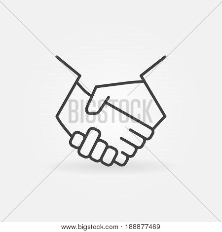 Handshake line icon - vector minimal business and partnership thin line symbol or logo element