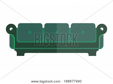 green isolated sofa with bright and dim parts on white. Soft emerald couch with back and armrests vector colorful illustration in flat design. Modern piece of furniture for living room or bedroom