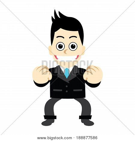 Businessman with posture fight, not discouraged.Men who have patience.