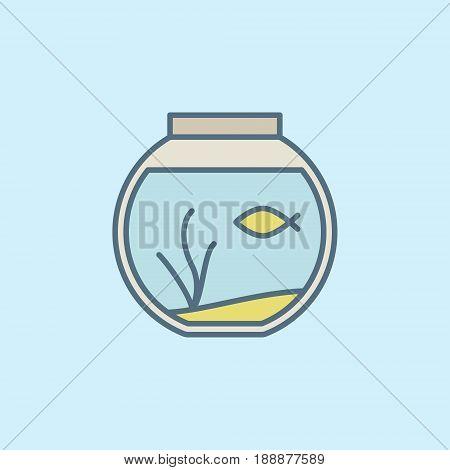 Round home aquarium icon. Vector colorful fish bowl symbol or design element on blue background