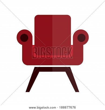 Comfortable, soft and stylish armchair with red leather upholstery on strong wooden dark brown legs isolated vector illustration on white background. Living room furniture for comfort and decoration.