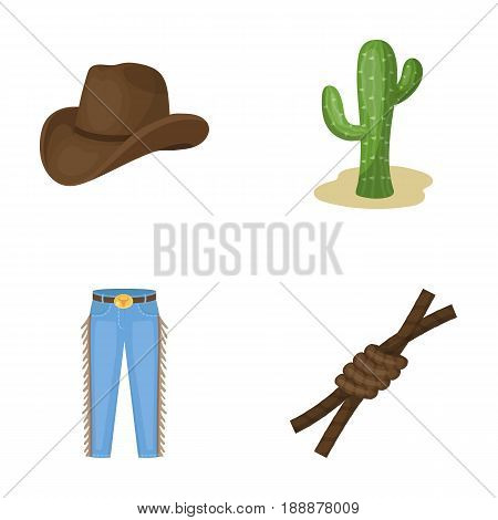 Hat, cactus, jeans, knot on the lasso. Rodeo set collection icons in cartoon style vector symbol stock illustration .