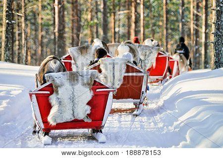 People On Reindeer Sledge Caravan In Winter Rovaniemi Forest