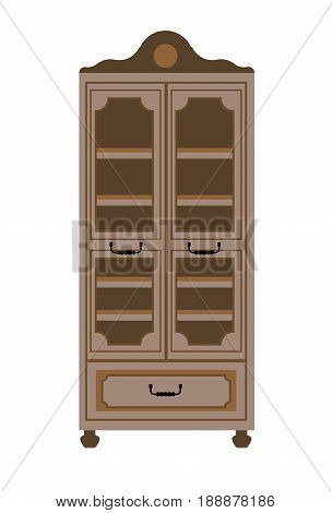 Empty cupboard in vintage style isolated on white. Vector colorful illustration in flat design of antique wooden graven piece of furniture with many inner shelves and glass doors with frames