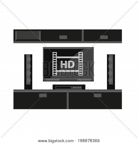 Black furniture for TV set isolated on white. Up-to-dates line of mebel consisting of long table with two boxes for TV and columns and hanging shelves with doors vector illustration in flat design