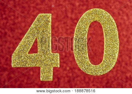 Number forty yellow color over a red background. Anniversary. Horizontal