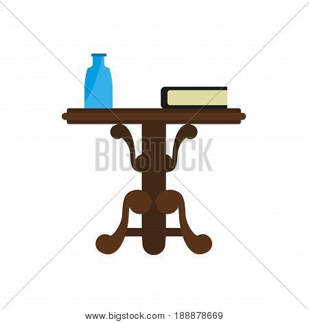 Wooden round table with blue bottle and lying book on it isolated on white. Vector colorful illustration in flat design of brown coffee table standing on waving legs with some elements on top